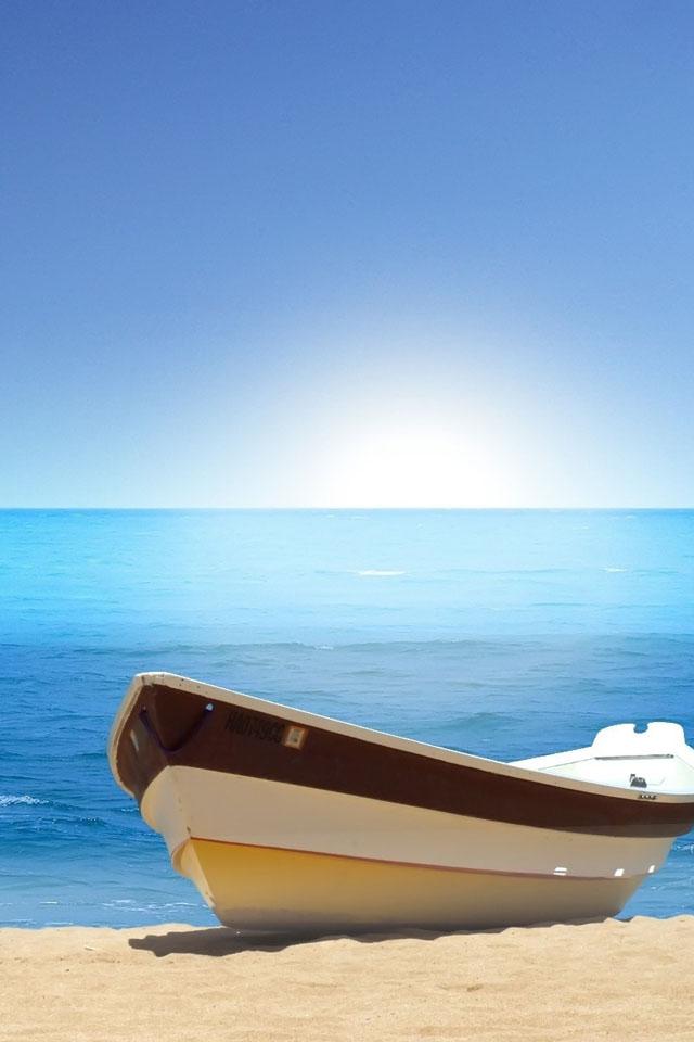 Boat beach iPhone 4s Wallpaper Download | iPhone Wallpapers, iPad ...