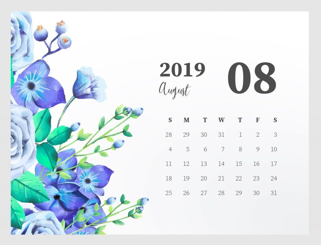 Cute August 2019 Calendar Printable planners June 2019 1024x783