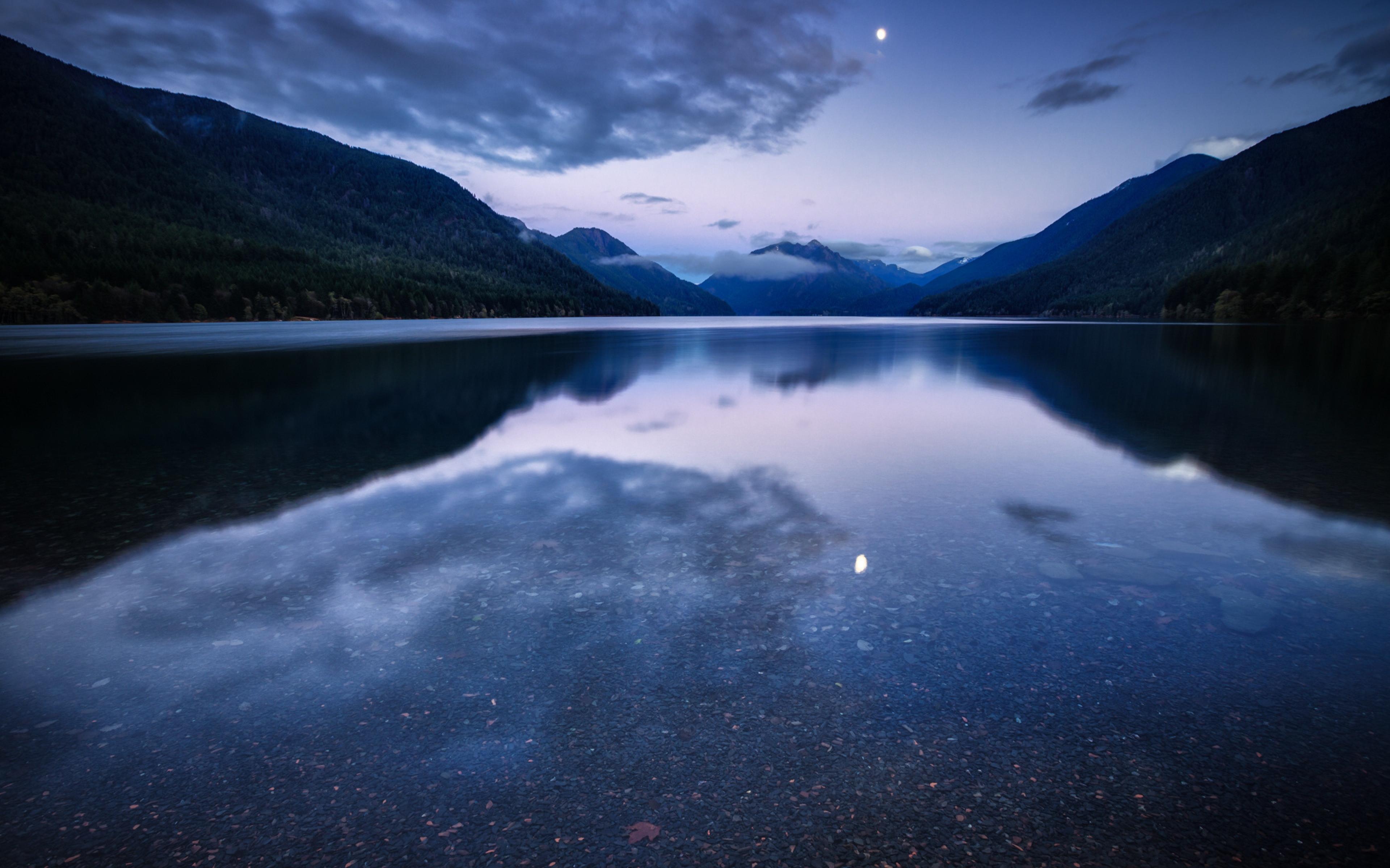 night lake mountains water reflection Ultra HD 4K HD Background 3840x2400