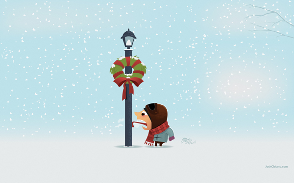 stuck on pole winter christmas wallpaper 12 Funny Winter Wallpapers 600x375