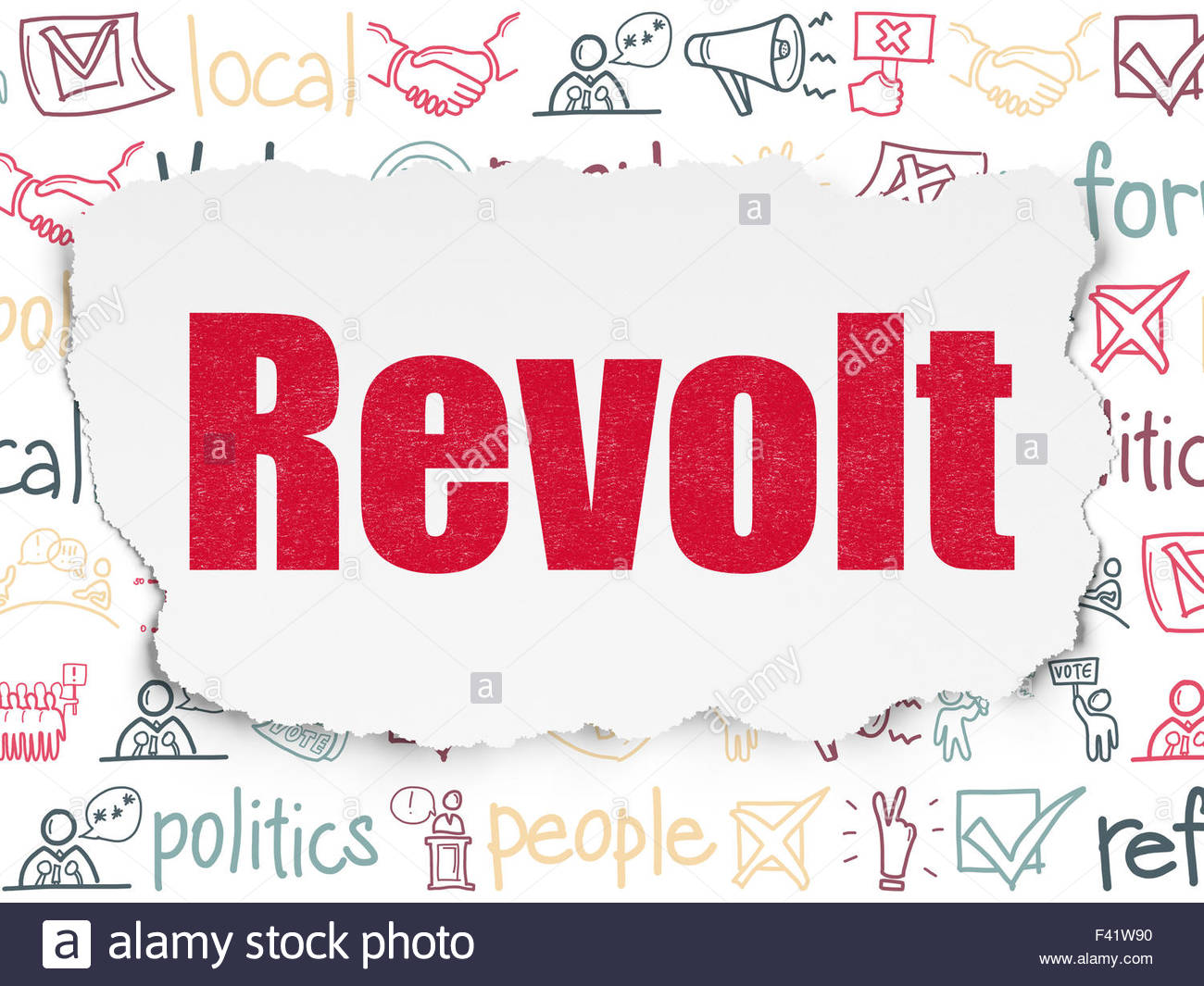 Politics concept Revolt on Torn Paper background Stock Photo 1300x1065