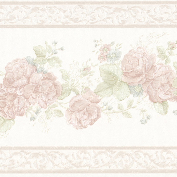 1634 White Floral Trail and Scroll Trim   Brewster Wallpaper Borders 600x600