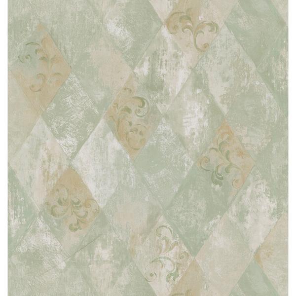 Brewster Sage Green Harlequin Scroll Wallpaper 600x600