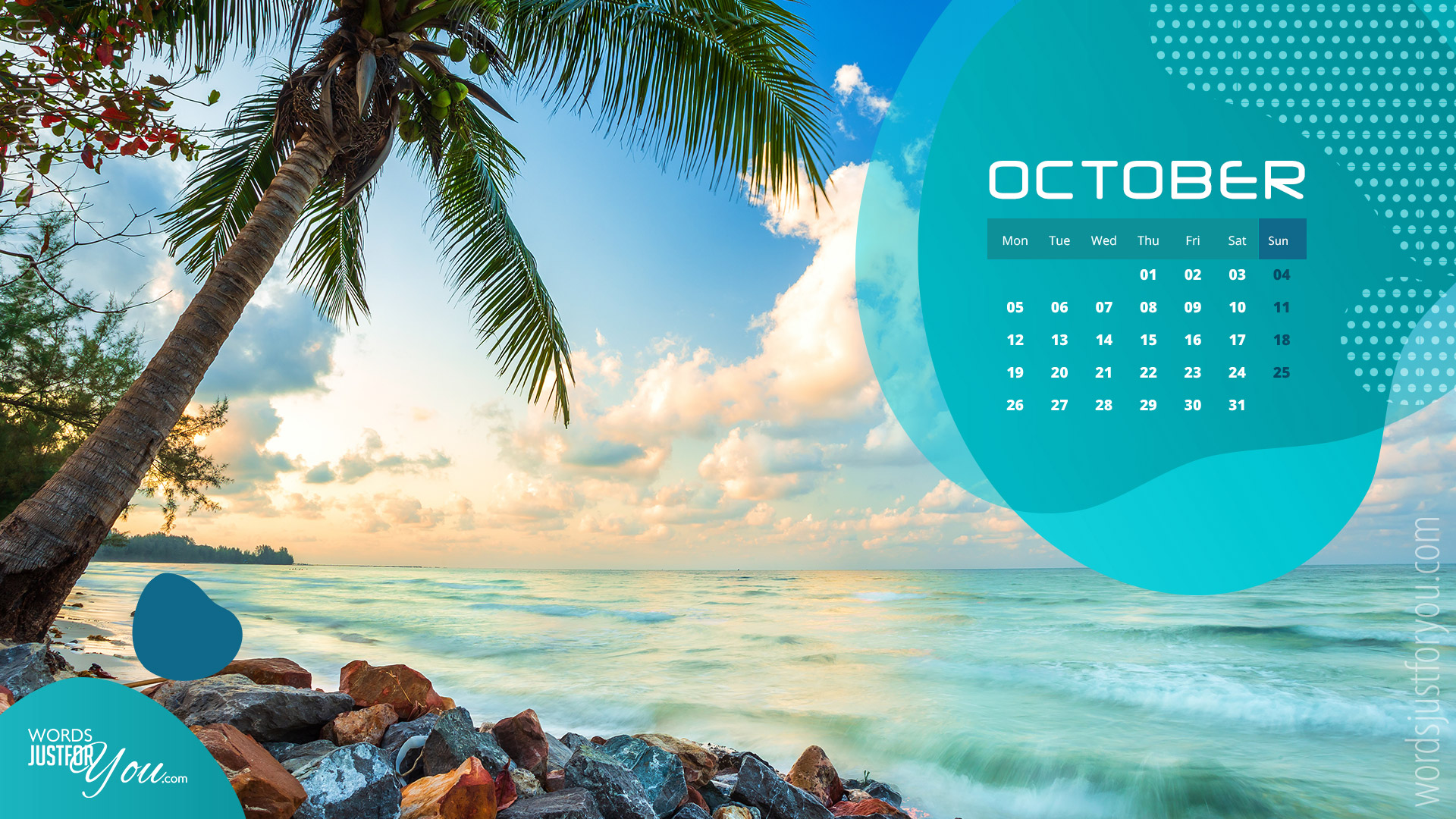 5x HD October 2020 Calendar Wallpaper 6574 Words Just for You 1920x1080