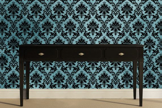 Removable Wallpaper Dutchess Teal Damask Peel by AccentWallCustoms 570x378