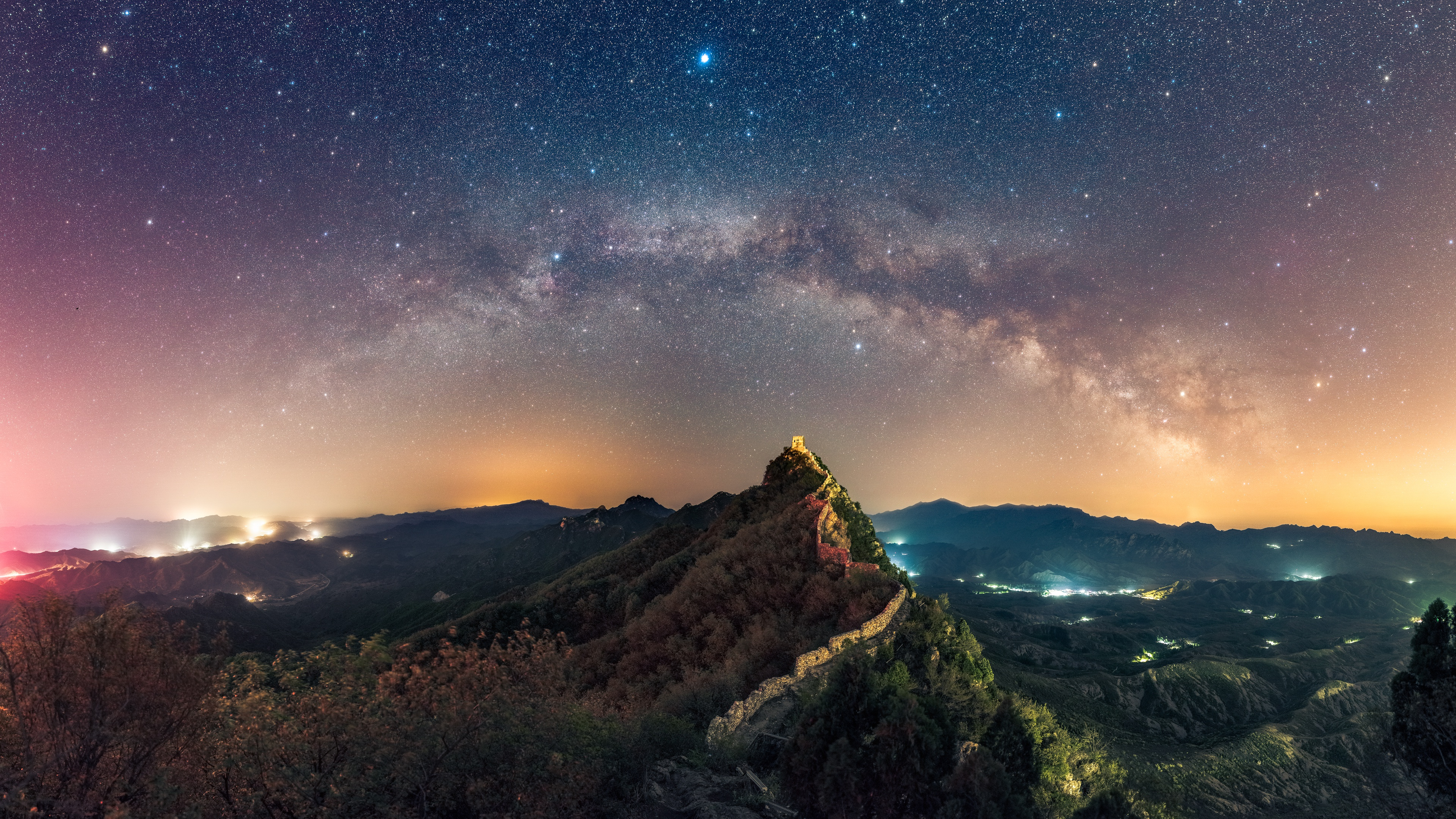 Wallpaper Stars Nature Mountains The Great Wall of China 3840x2160 3840x2160