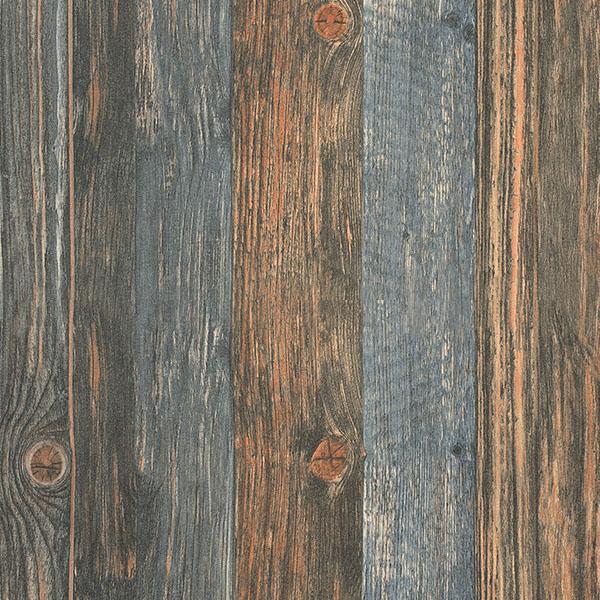 Reclaimed wood Faux Wallpaper in Charcoal Blue Brown Beige 600x600