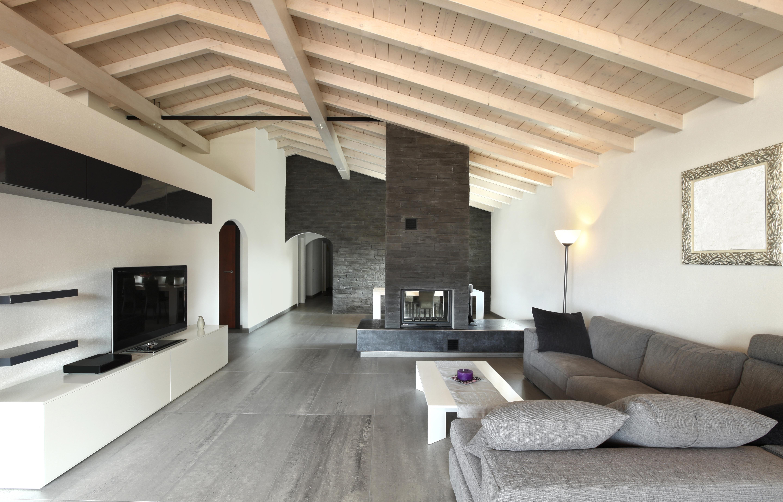 Intrieur design gris style salon chemine canap miroir tv 5760x3690