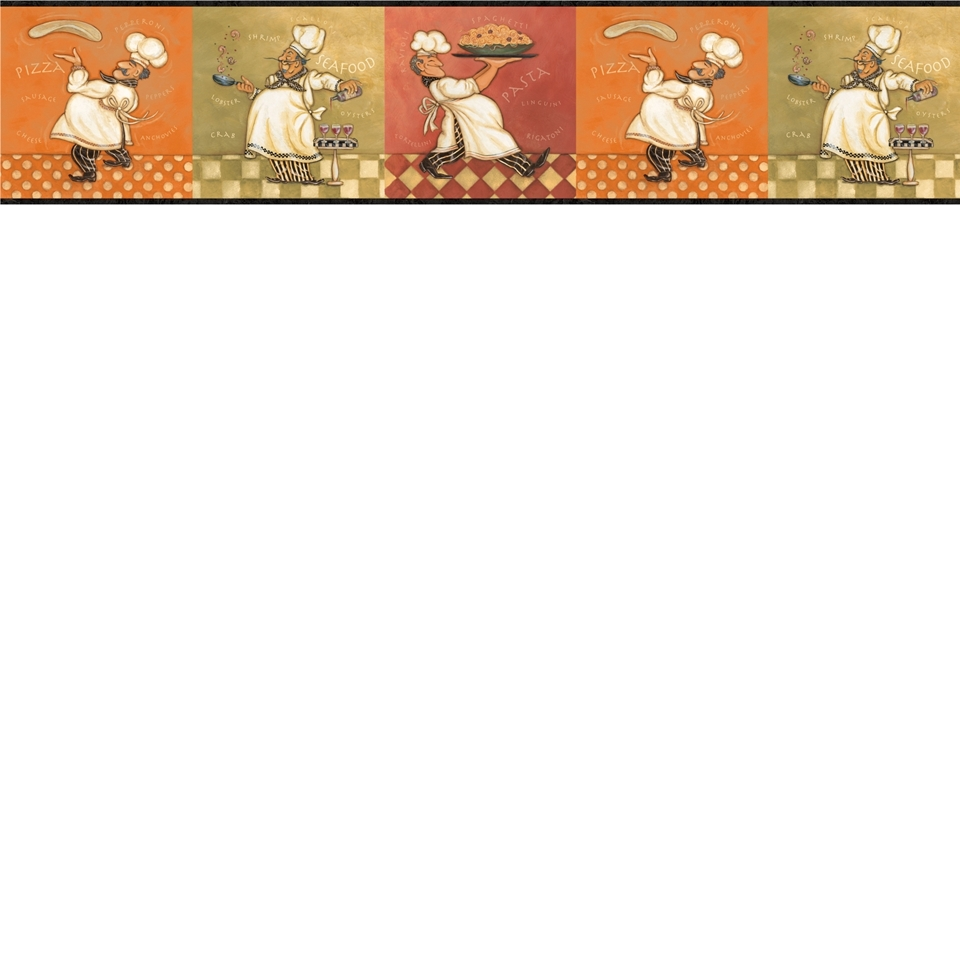 Italian Fat Chef Wallpaper Border KBE12641B Kitchen Decor Buon Appetit 960x960
