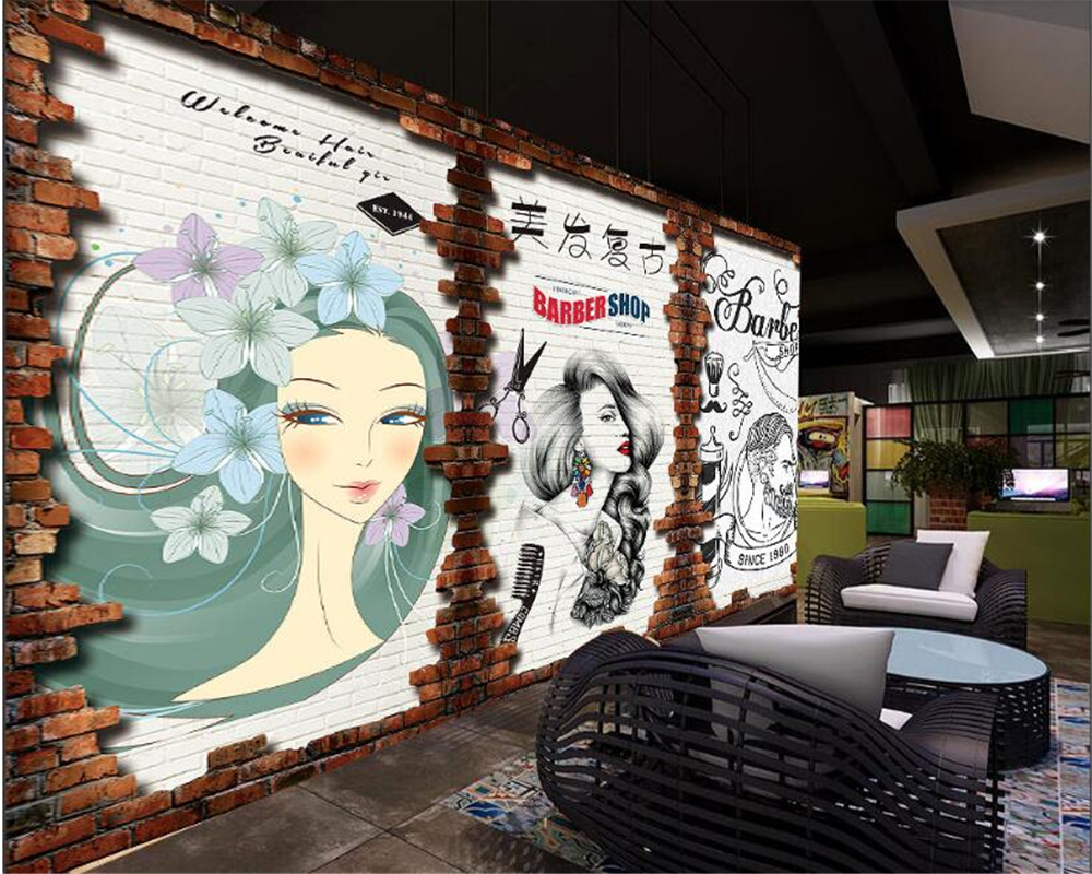 beibehang Custom Personality Wall paper Vintage Barber Shop 1000x800