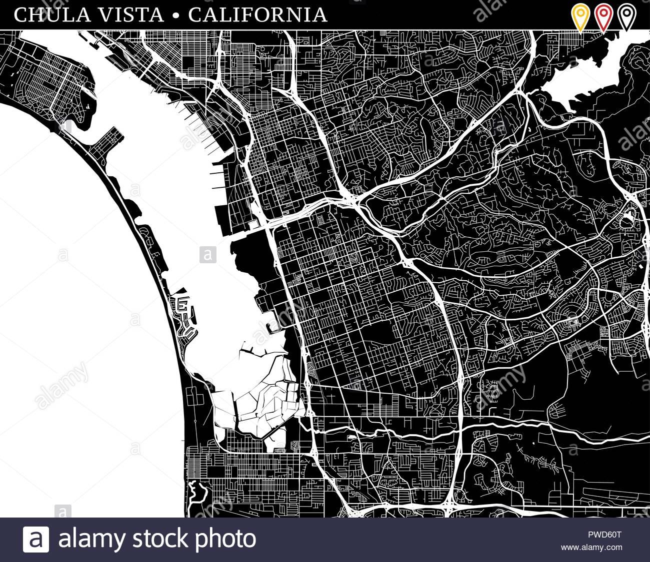 Simple map of Chula Vista California USA Black and white 1300x1125