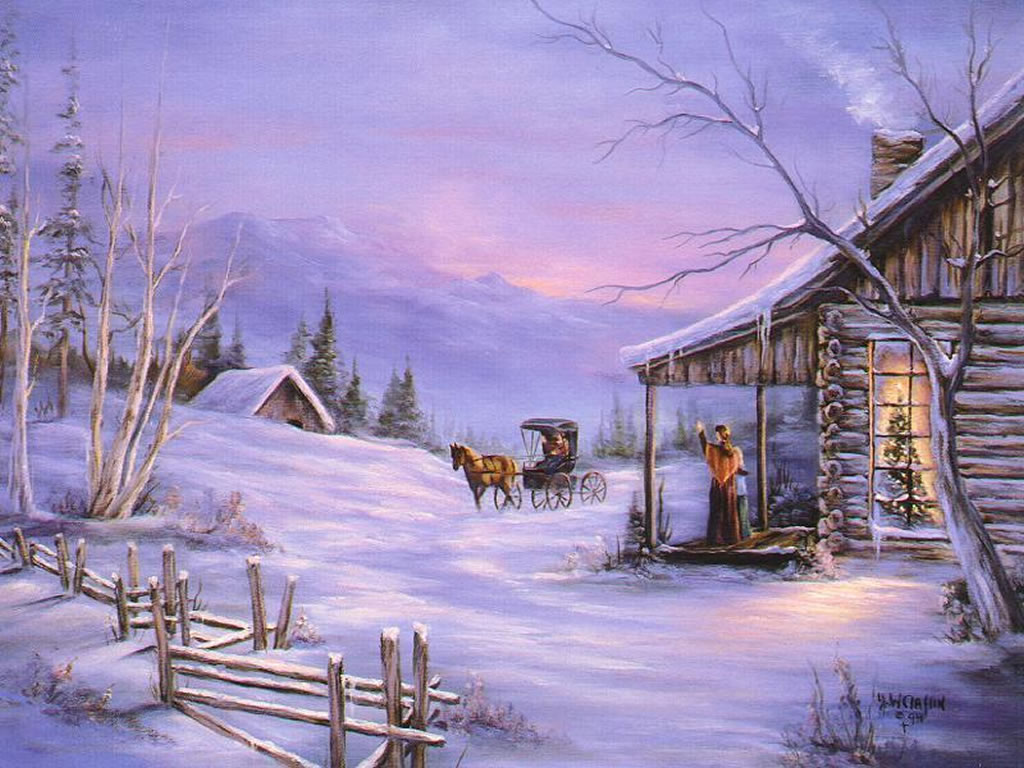 christmas art 06 christmas winter scenes wallpaper image 1024x768