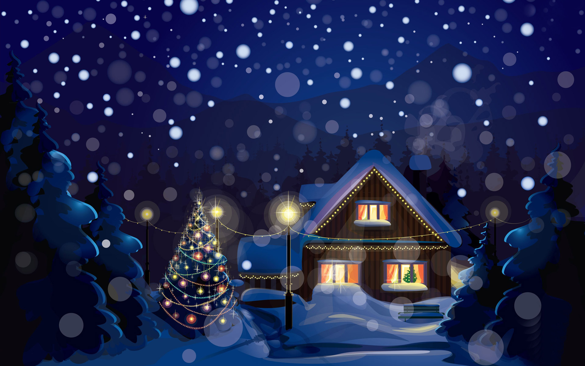 Christmas house wallpaper wallpapersafari for Wallpaper for house decoration