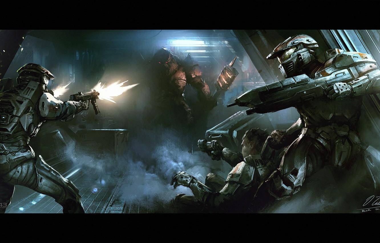 Wallpaper fiction corridor machine alien armor fight halo 1332x850