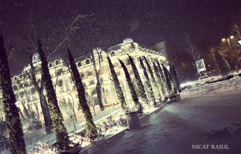 Wallpaper city lights night winter snow nice capital 1332x850