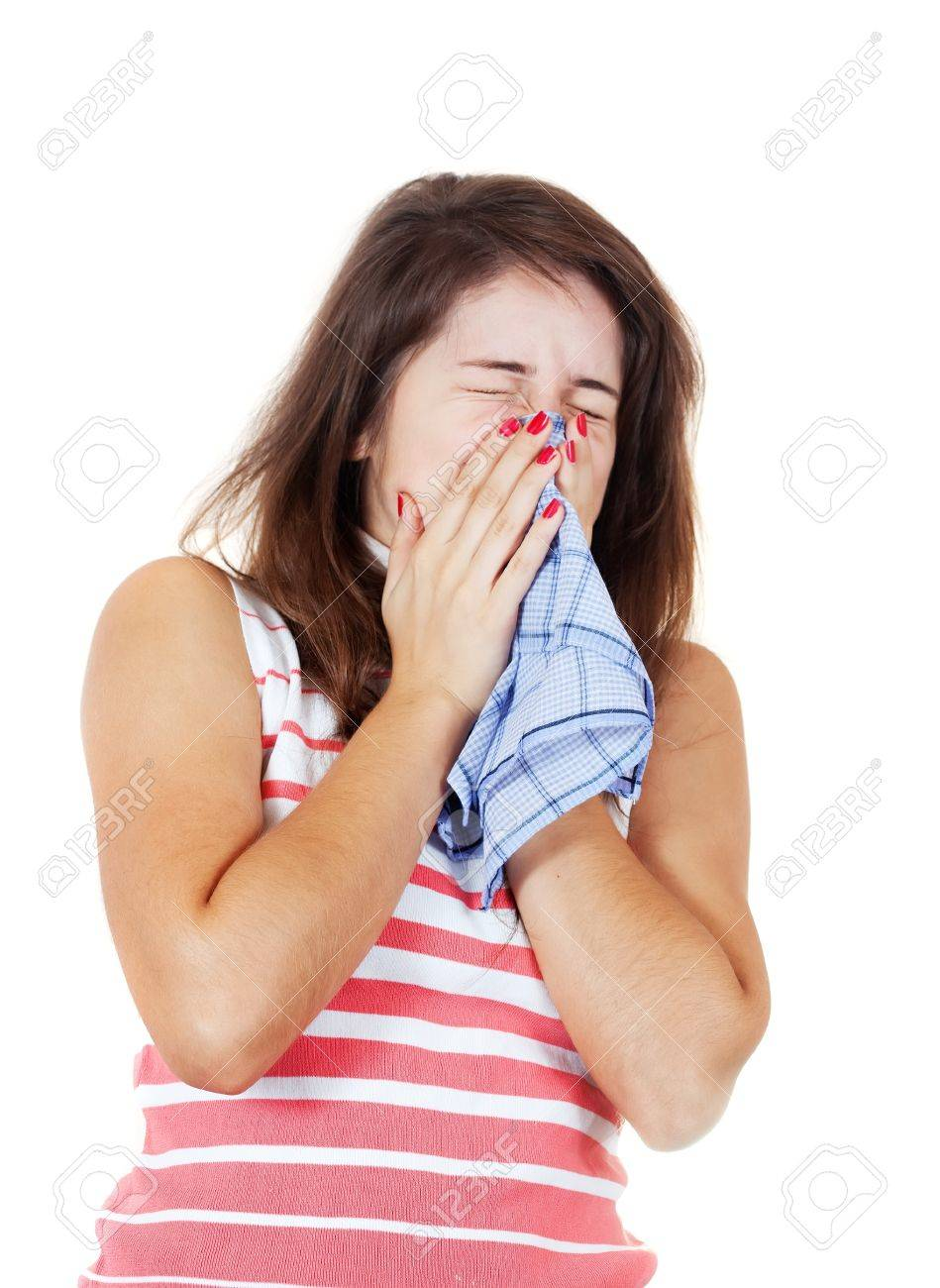 Sneezing Sick Girl With Handkerchief Isolated On White Background 949x1300