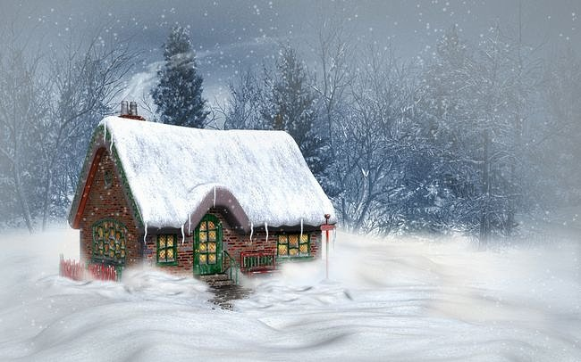 North Pole Snow Winter House Christmas [The Paper Wall] 650x406