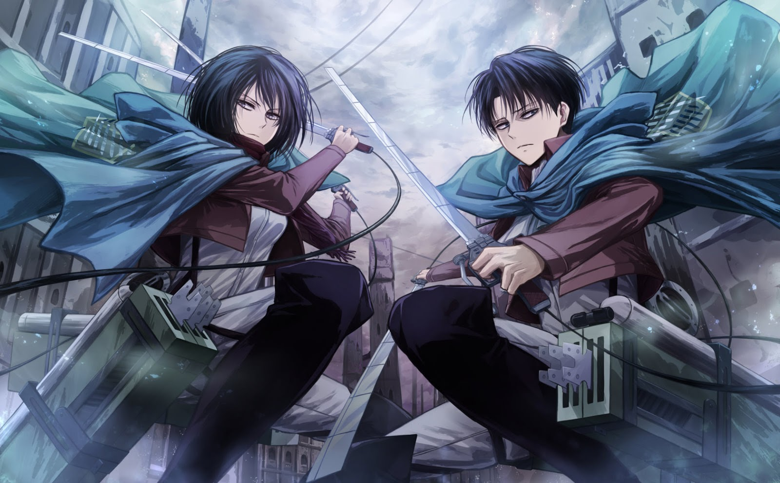 Levi Rivaille Levi Rivaille Cape 3D Maneuver Gear Attack on Titan 1600x992