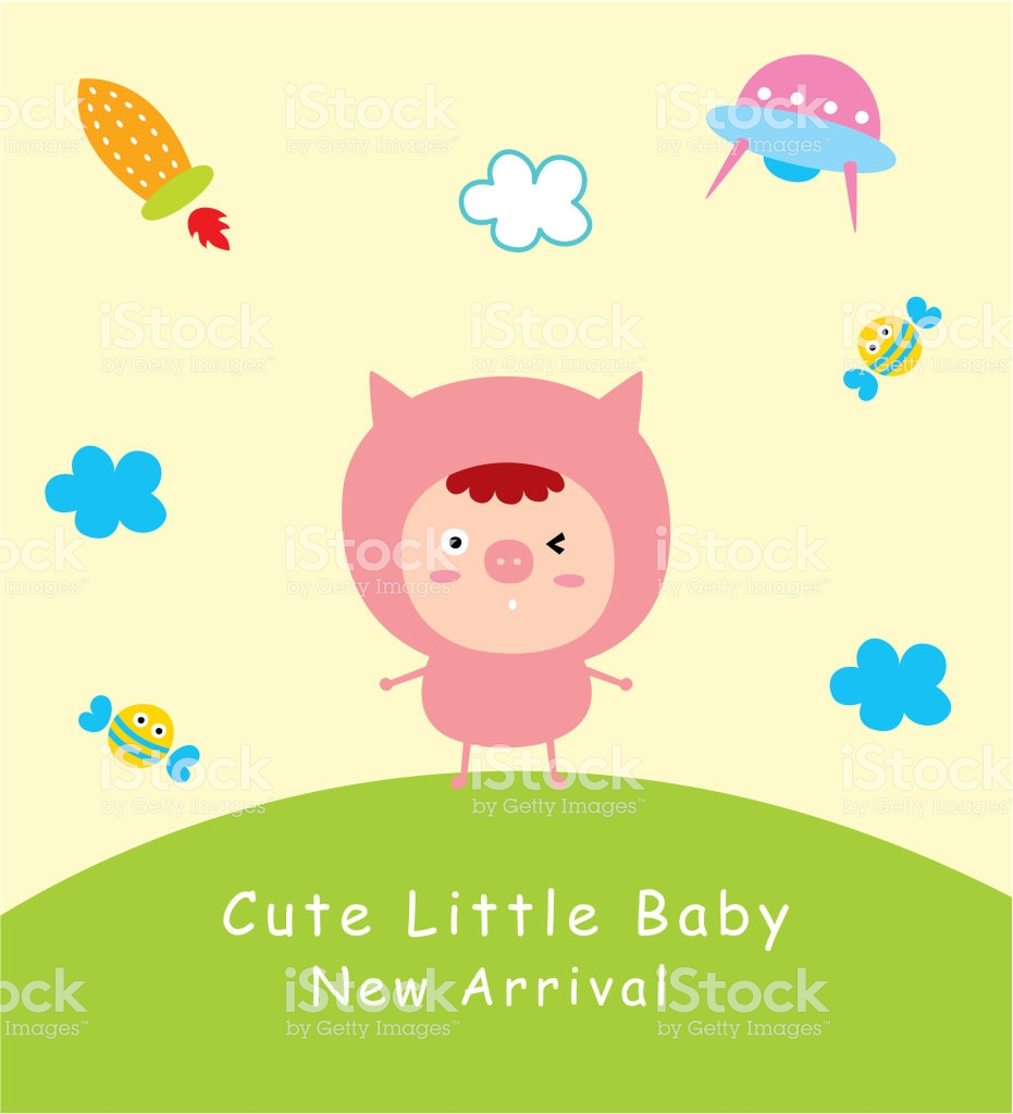 Cute Pig Doodle Baby Arrival Card Announcement Card Vector Stock 931x1024
