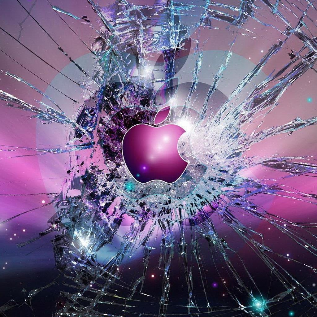 Apple Logo Broken Glass iPad Wallpaper Download iPhone Wallpapers 1024x1024