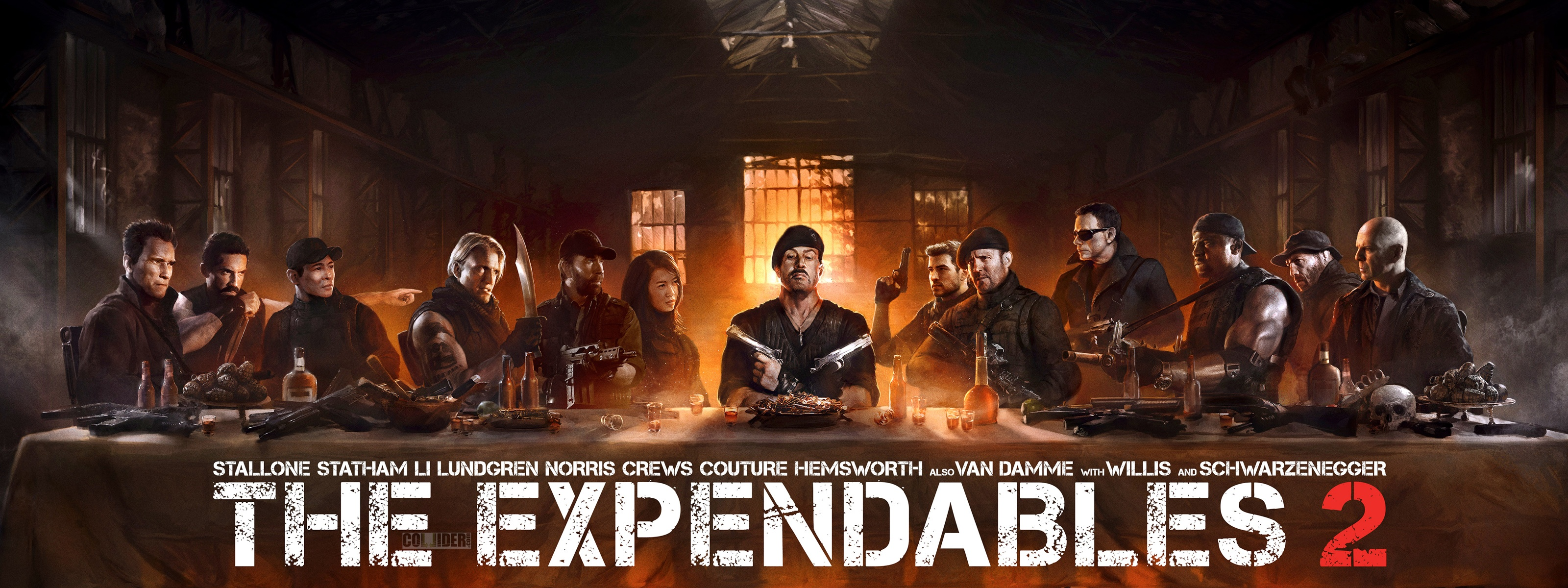 Expendables 2 The Last Supper Wallpapers HD Wallpapers 3200x1200