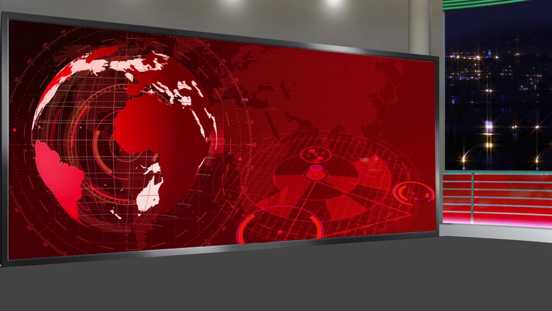 News 17 Broadcast TV Studio Green Screen Background Loopable 1920x1080