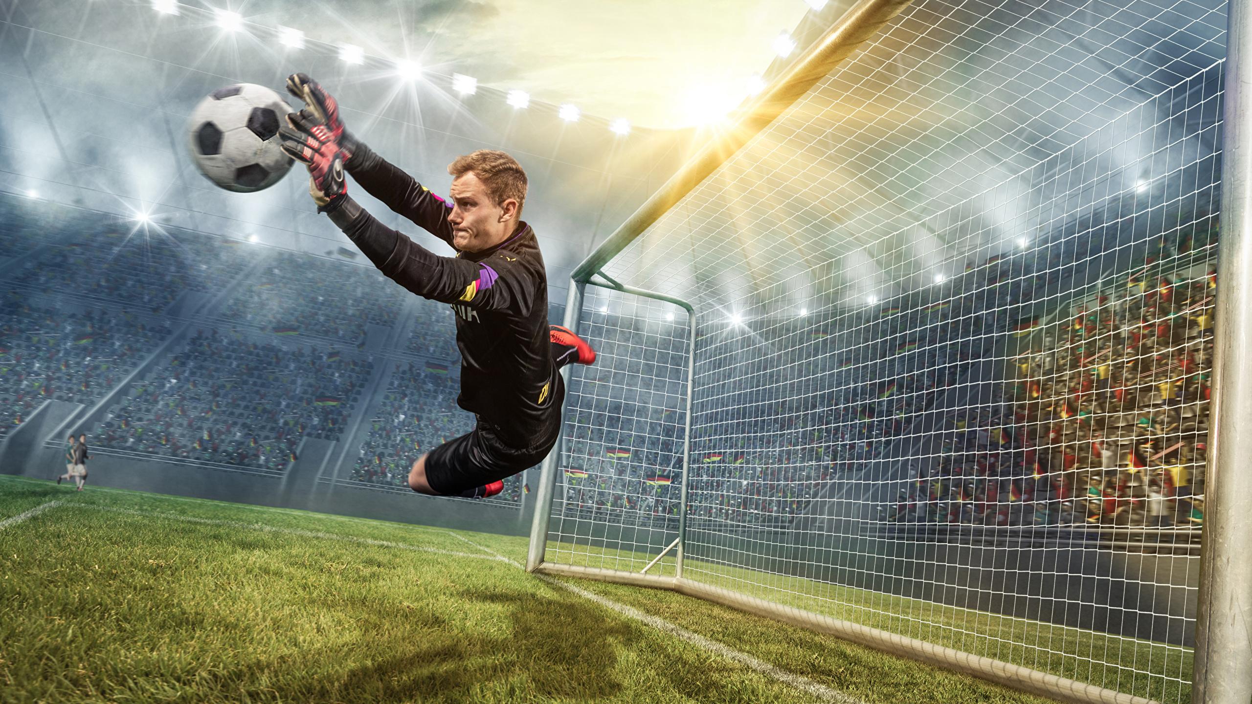 Images Man Goalkeeper football sports Footbal Jump Ball 2560x1440 2560x1440
