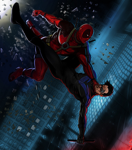 NightWing Vs DeadPool Flickr   Photo Sharing 440x500