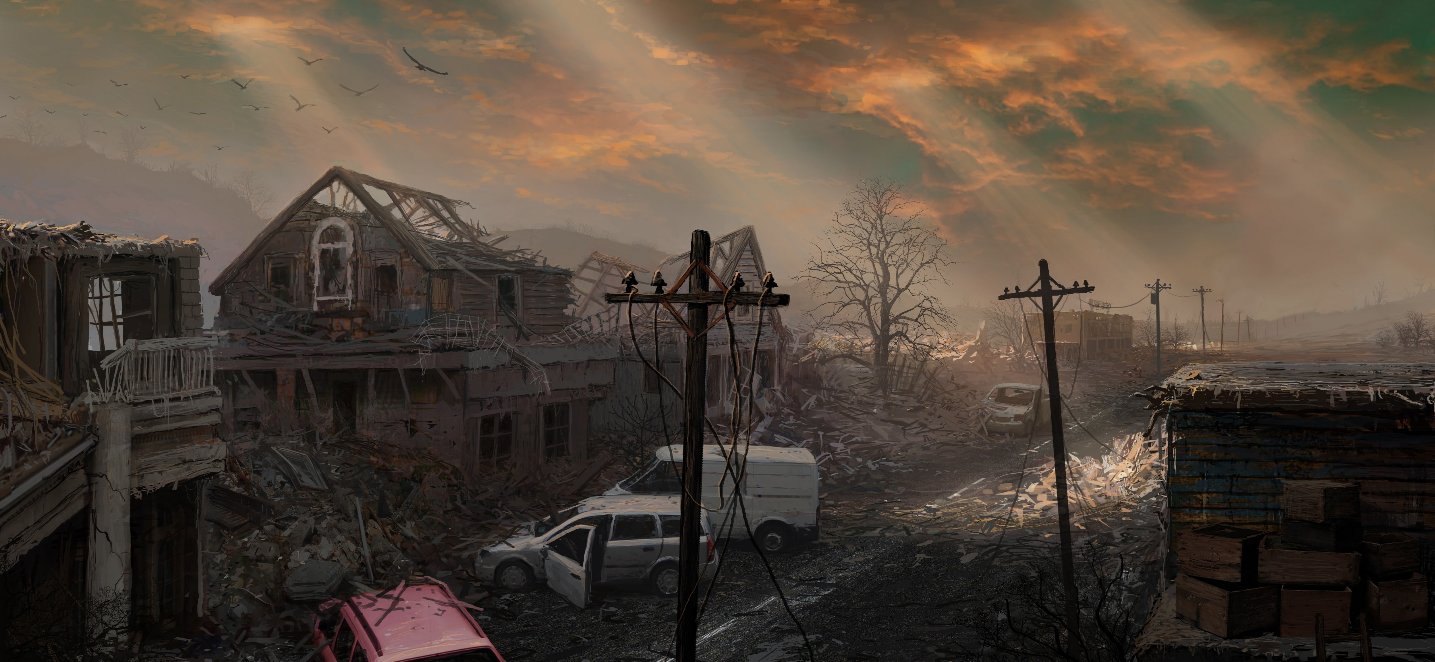 Ghost town wallpaper artwork apocalyptic HD wallpaper 4997x2305
