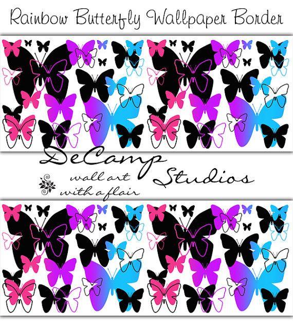 Decal Girls Bedrooms Butterflies Wallpapers Wall Decal Wallpaper 570x636