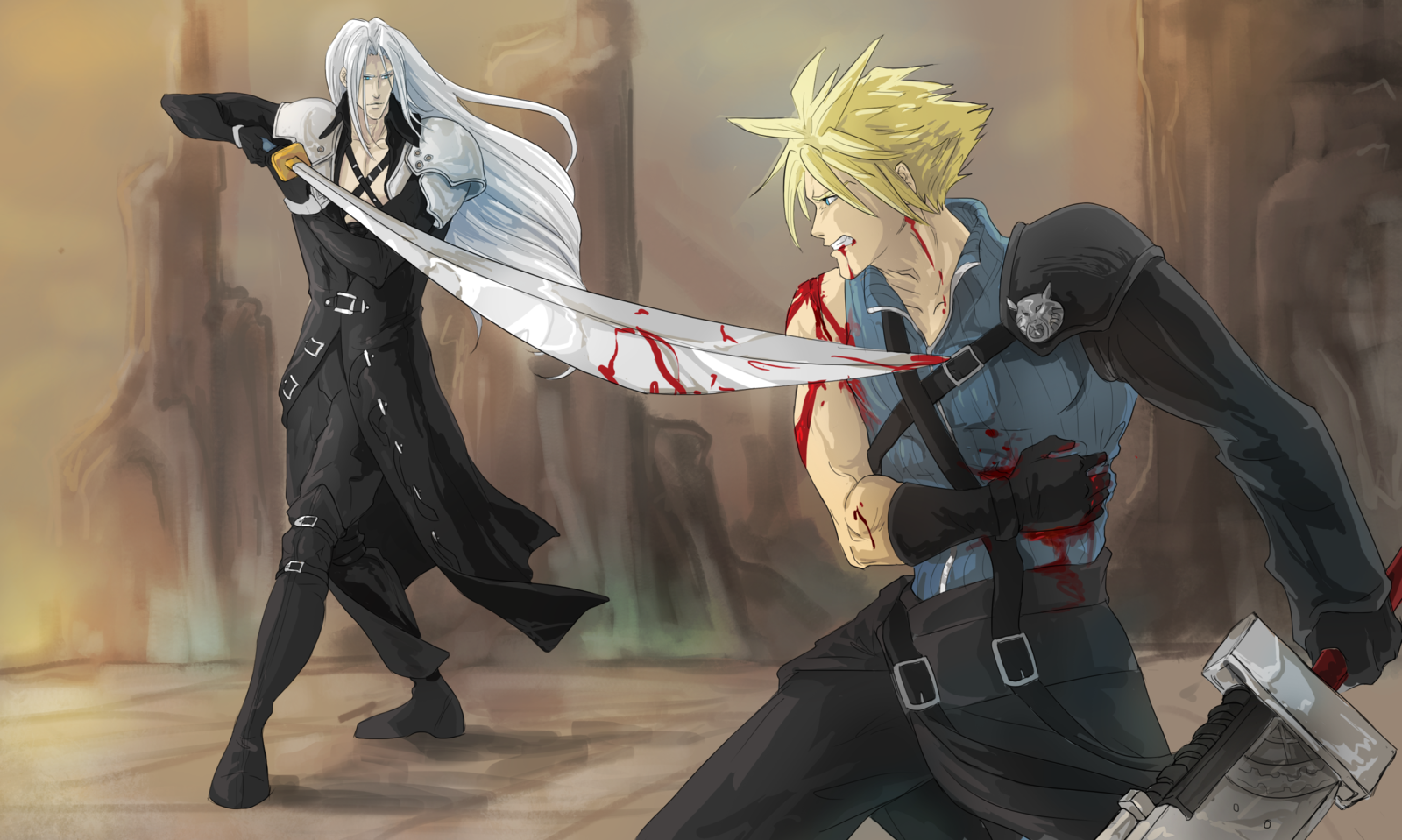 Sephiroth Vs Cloud by ErisLeea 1600x959