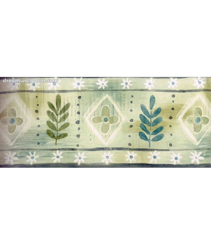 Blue Green Palm Leaves Wallpaper Border 700x812