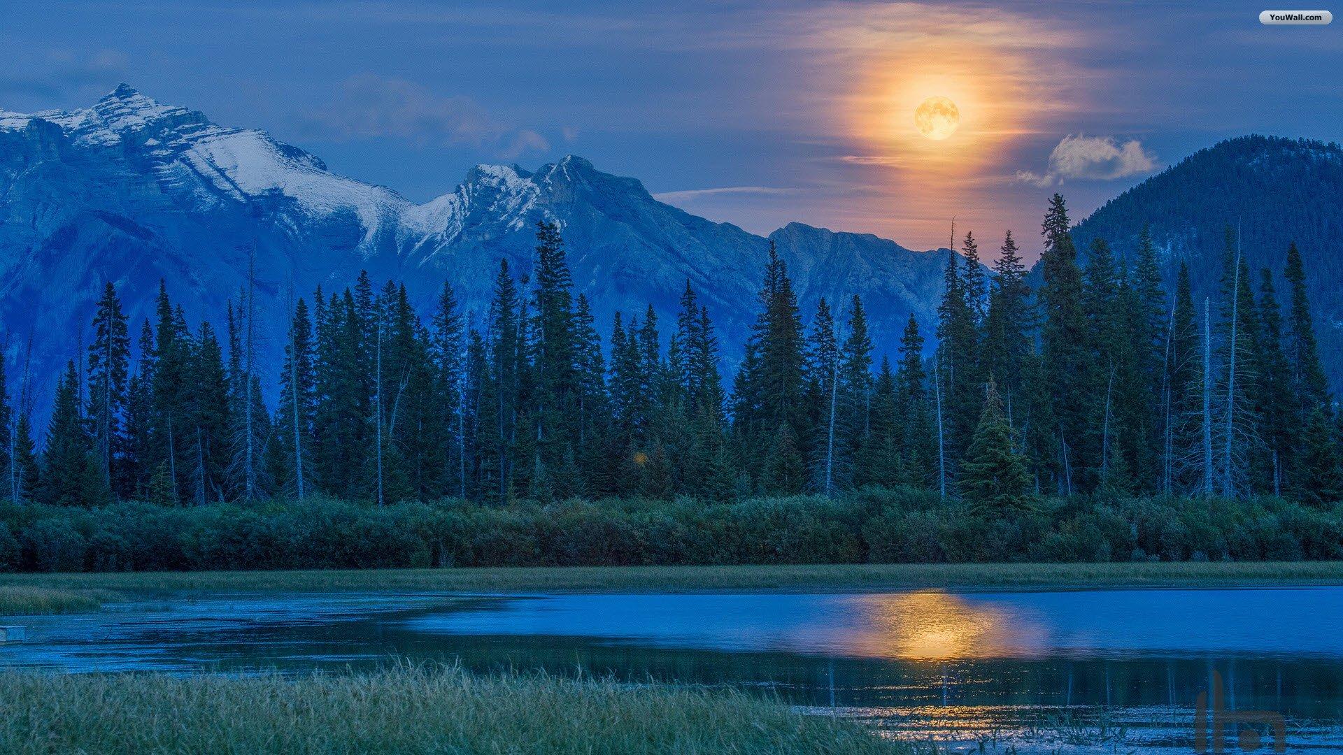 Mountain Lake Sunset Wallpaper 1920x1080