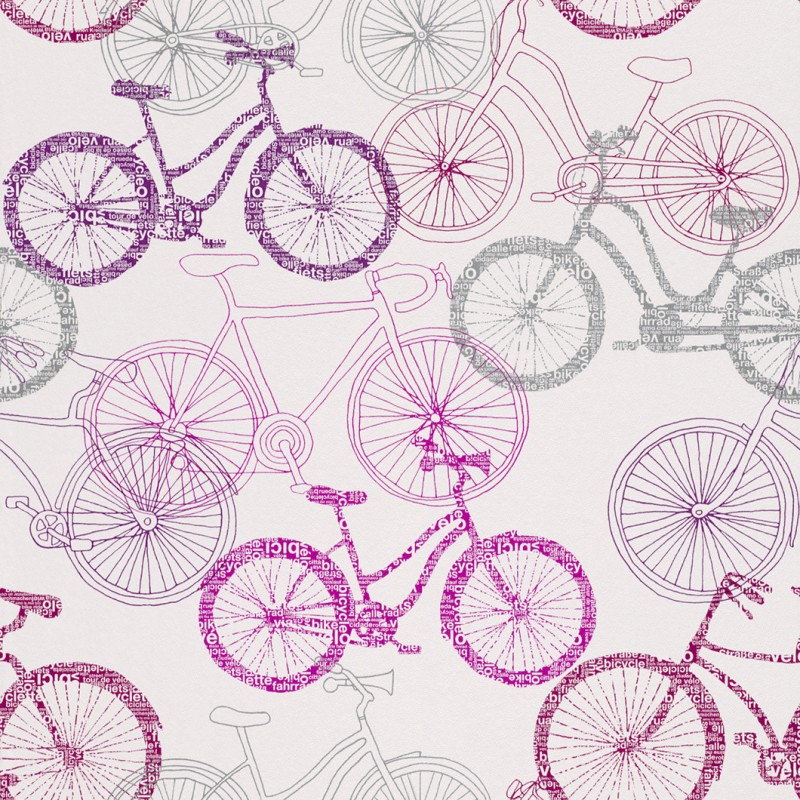 Home Bicycle Sketch Pink Silver Wallpaper by Rasch 280814 800x800