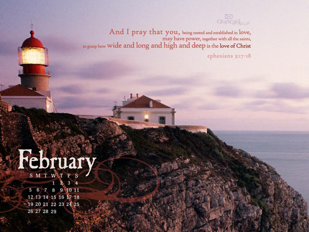 Feb 2012   Lighthouse Desktop Calendar  Monthly Calendars 1024x768