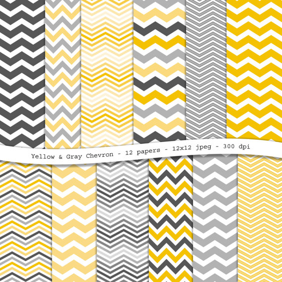 Yellow Gray Chevron digital scrapbooking paper pack   12 printable 570x570