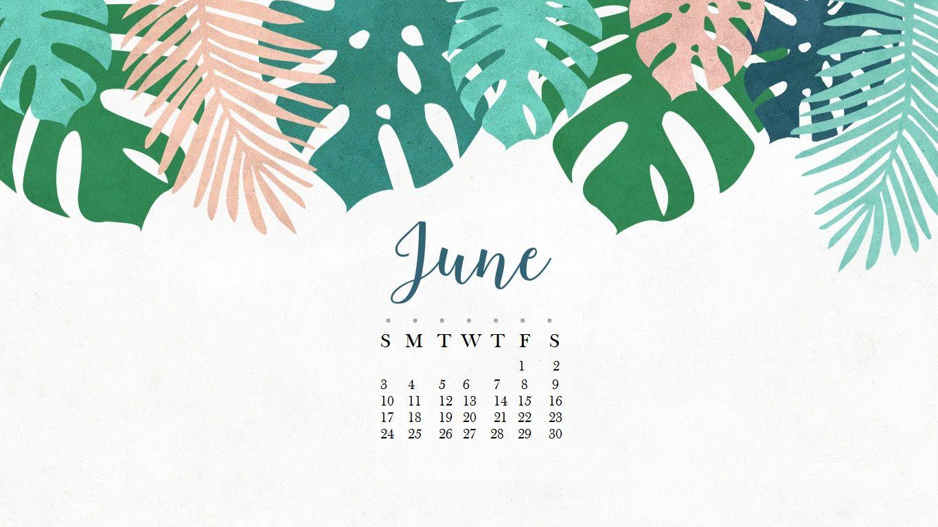 Floral June 2019 Wall Calendar 1366x768