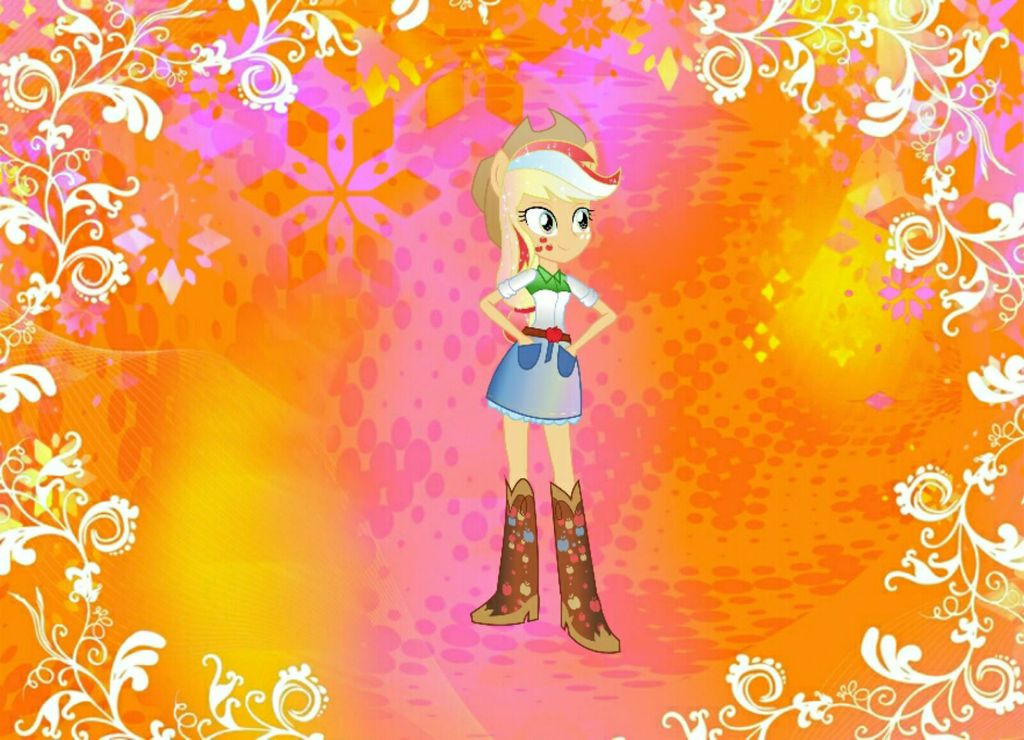 Equestria Girl Rainbow Power Applejack Background by RioFluttershy 1024x740