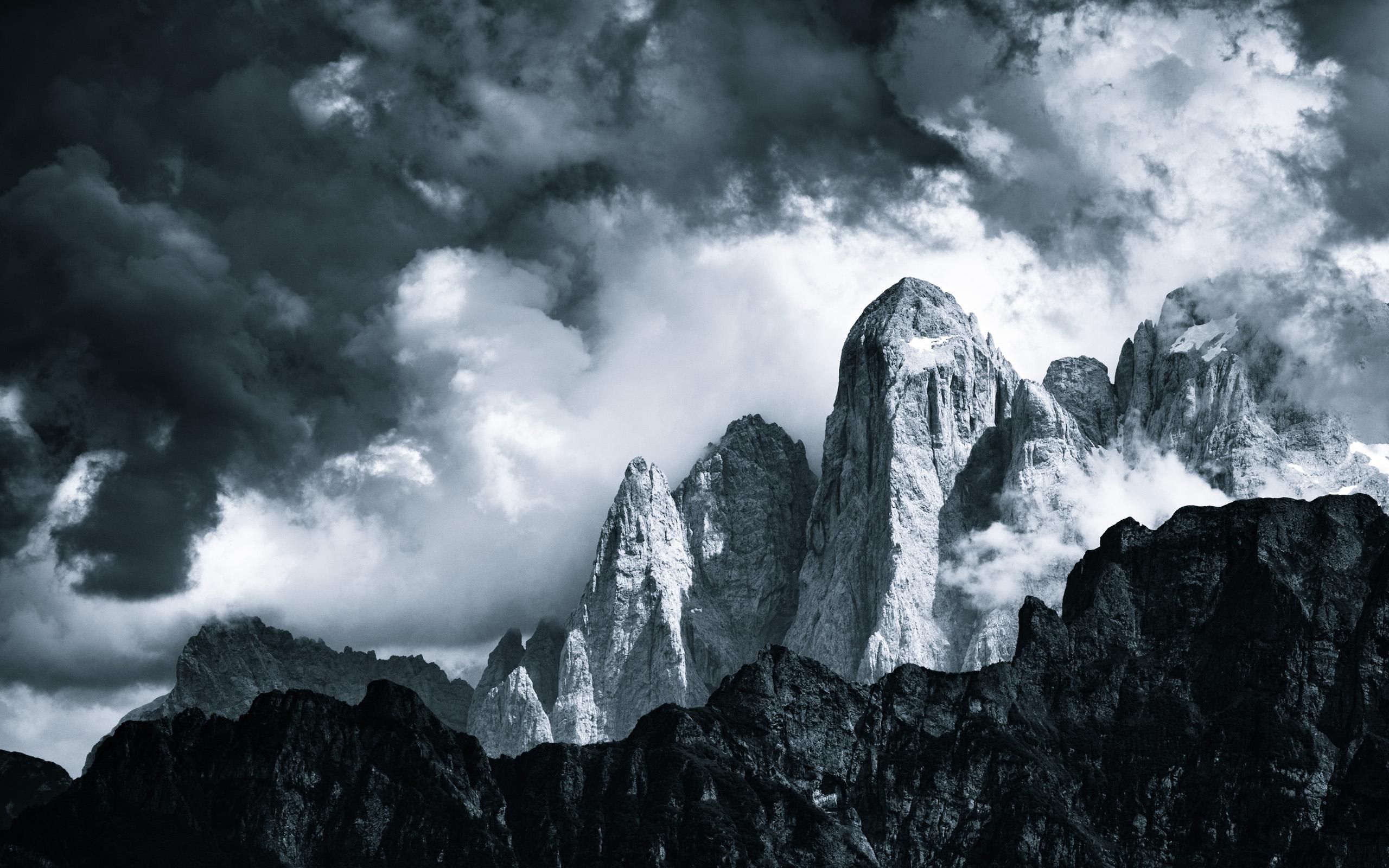 nature Landscapes Mountains Monochrome Black White Sky 2560x1600
