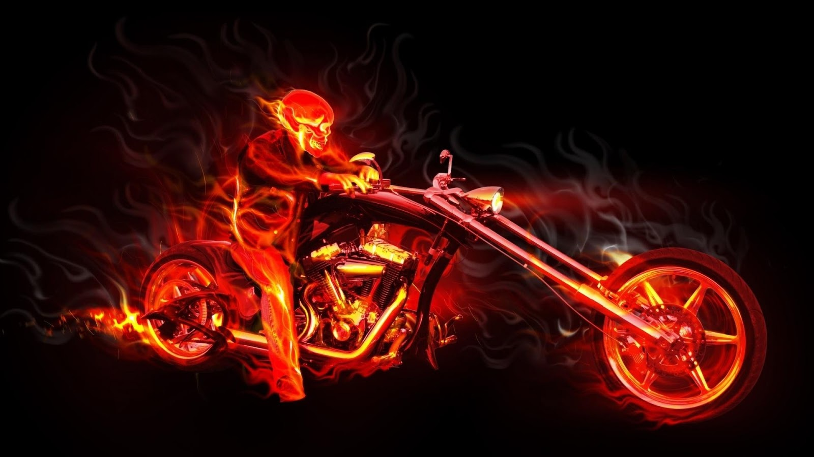 Motorcycle Skull Flames Fantasy Wallpaper Hd 6474 Wallpaper 1600x900