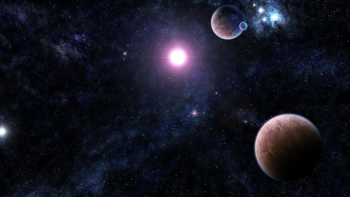 Download Wallpaper 1366x768 galaxy stars universe light planet 1366x768