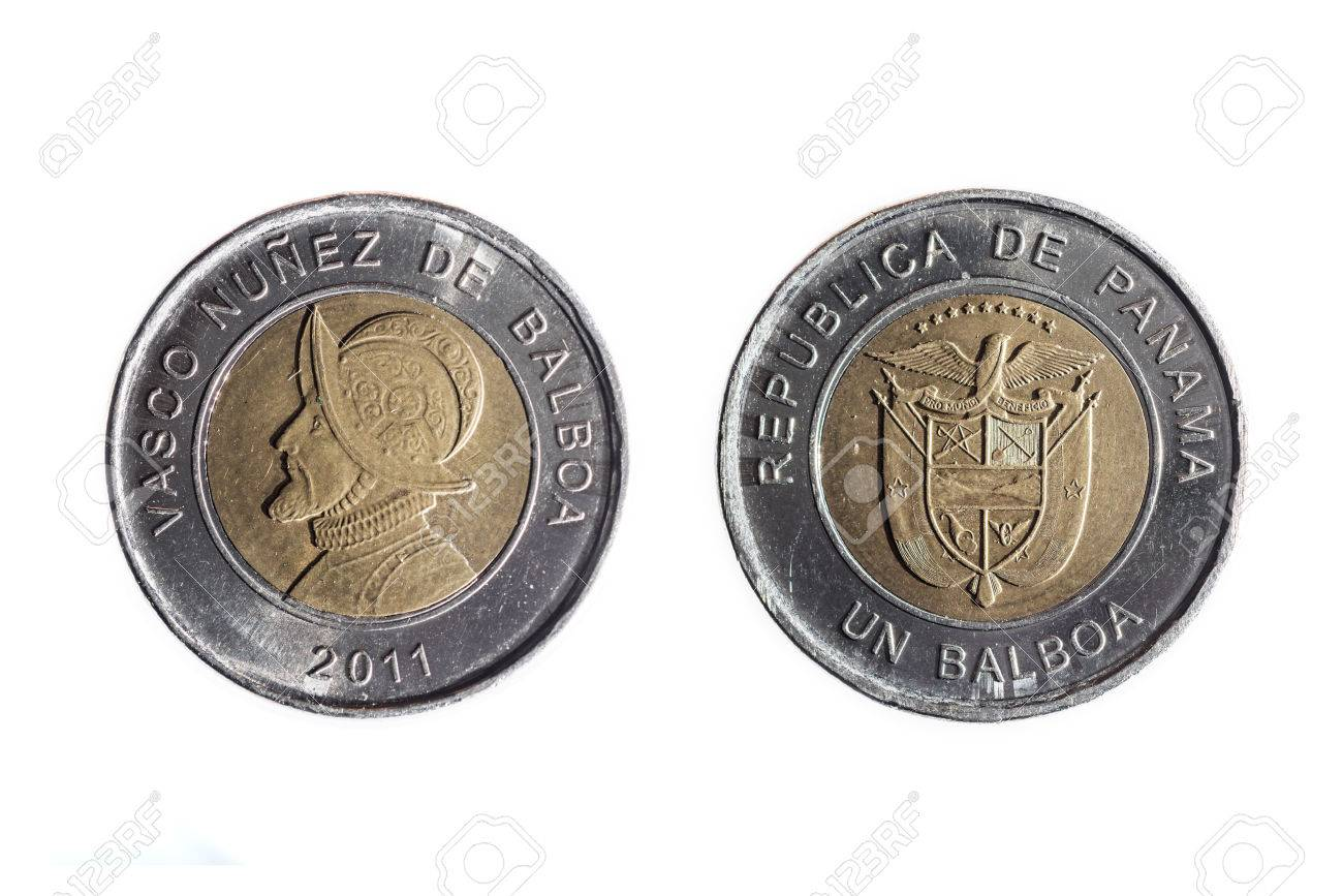 Front And Back Of Panamanian Coin Of One Balboa On White 1300x867