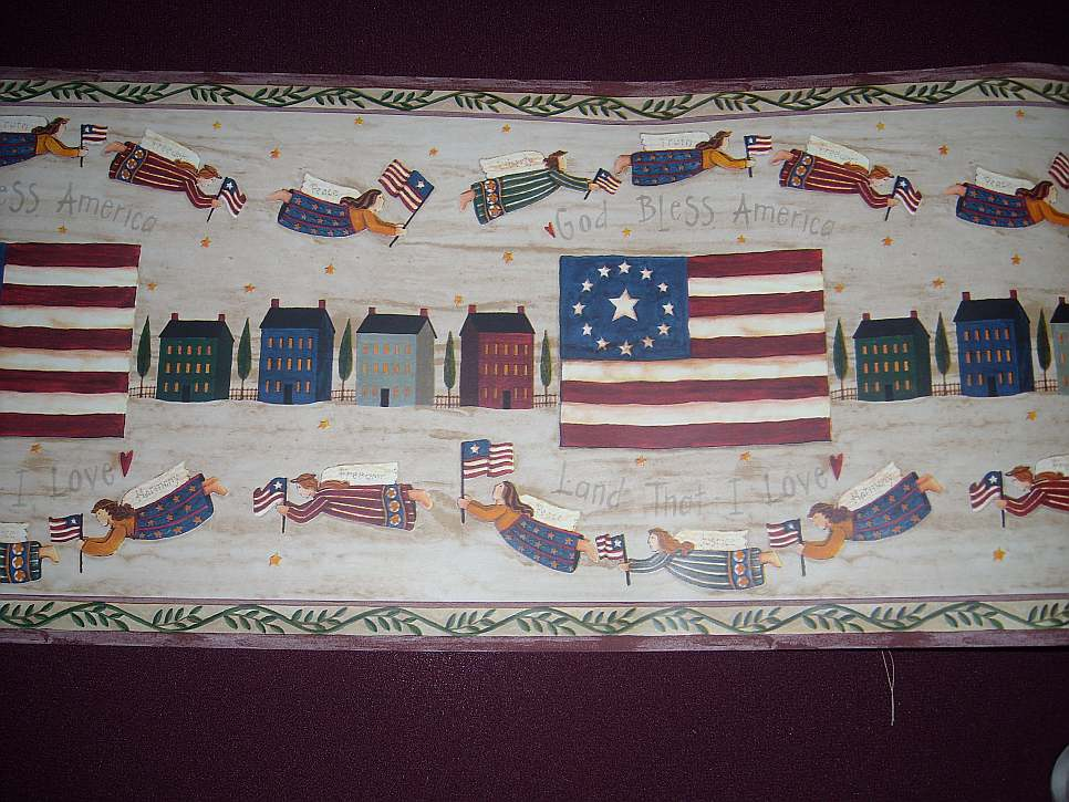 americana sheep wallpaper border 966x725