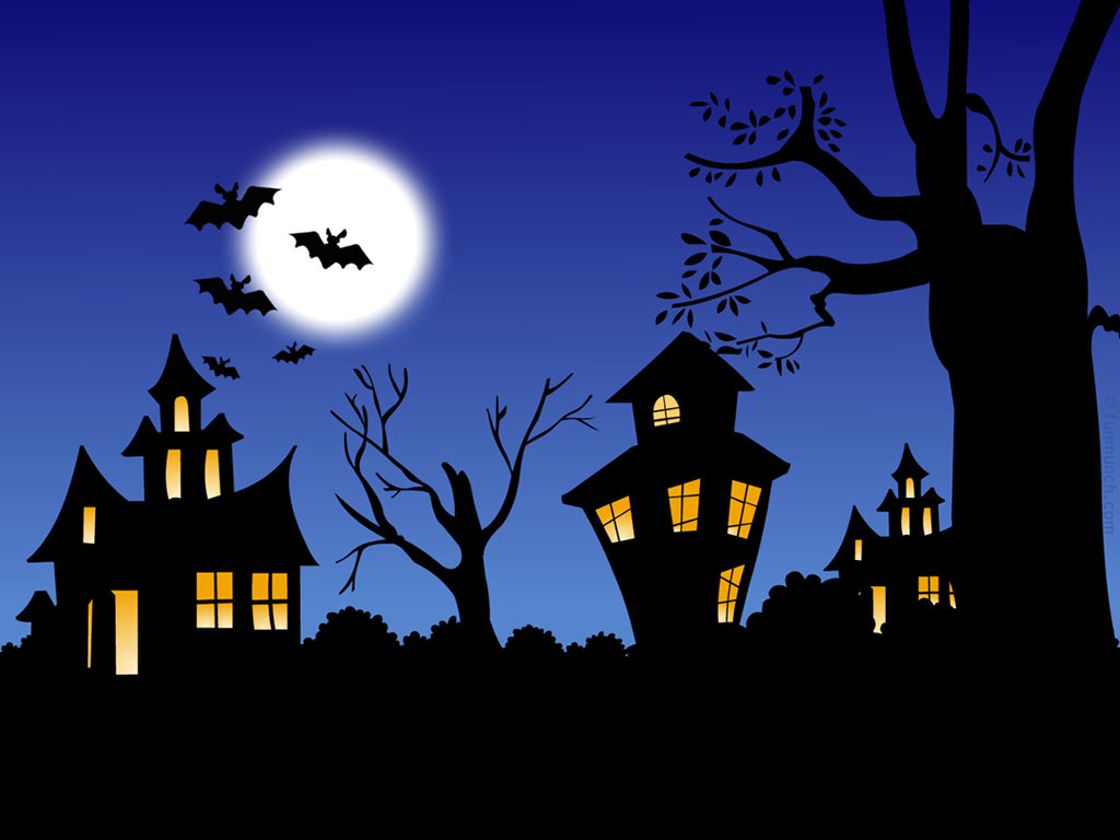 spooky haunted house desktop wallpaper featuring scary cartoon haunted 1024x768