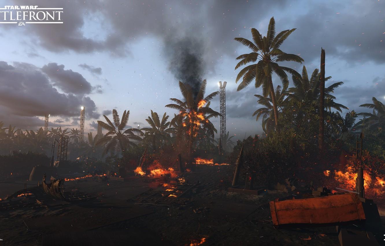 Wallpaper palm trees fire fire Star Wars Battlefront Scarif 1332x850