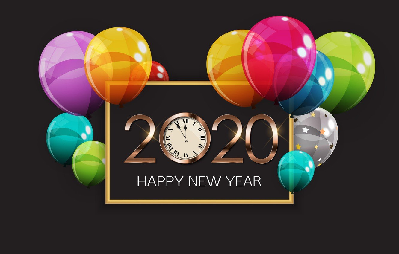Wallpaper balls new year Happy New Year 2020 images for desktop 1332x850