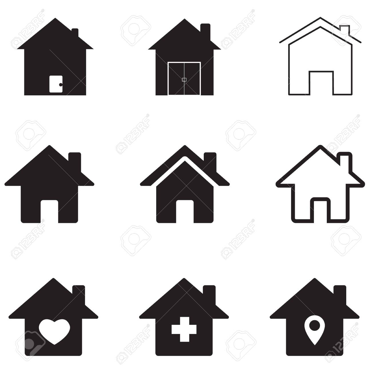Houses Icon On White Background Flat Style Homes Icon For Your 1300x1300