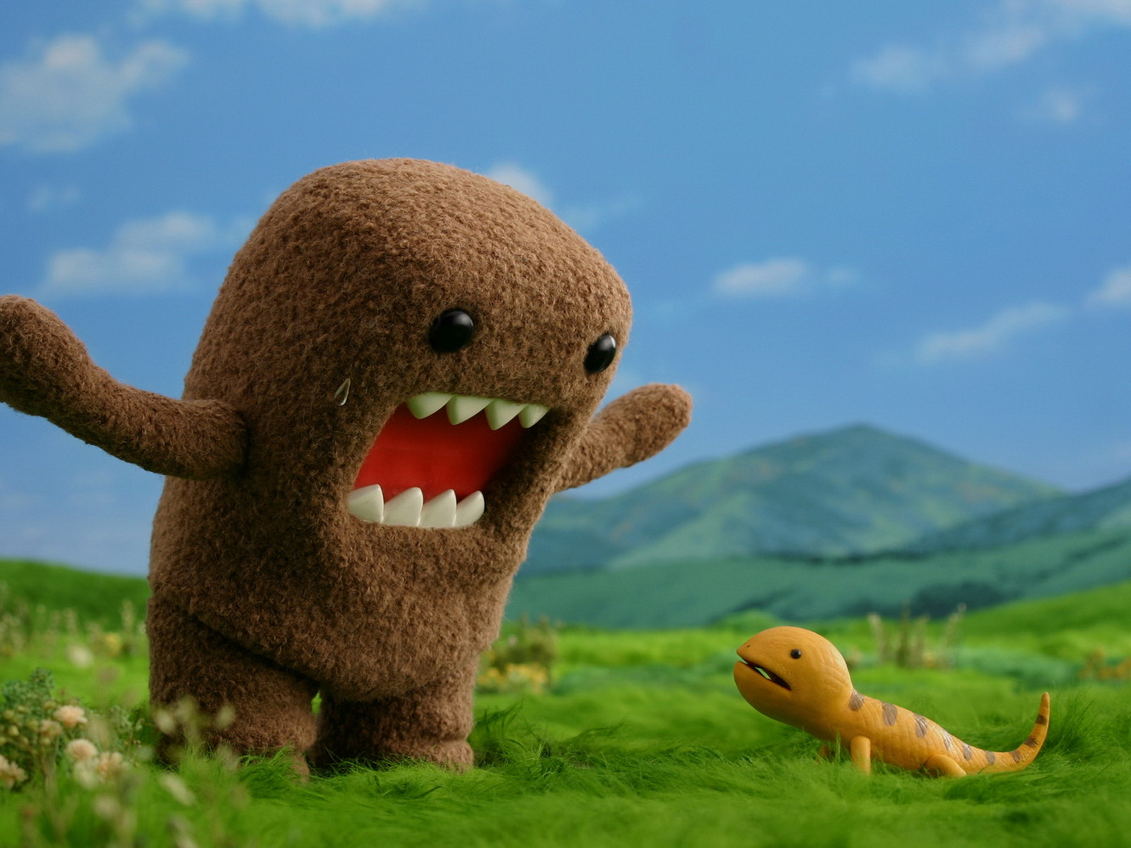 Domo Kun wallpaper with Domo Kun talking with a lizard 1600x1200