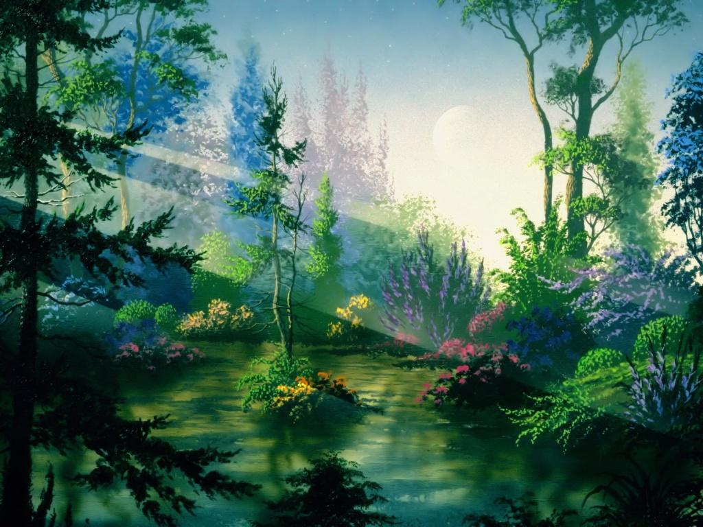 1024x768 Fantasy forest desktop PC and Mac wallpaper 1024x768