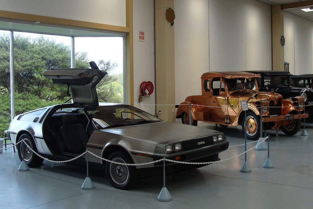 DeLorean with Copper car in the background Le Mans Cars in Tauranga 1024x683